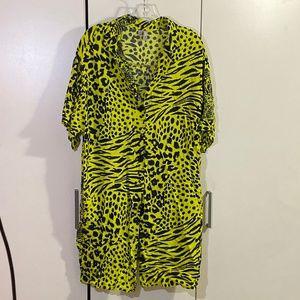 ASOS DESIGN Curve mini shirt dress in neon snake